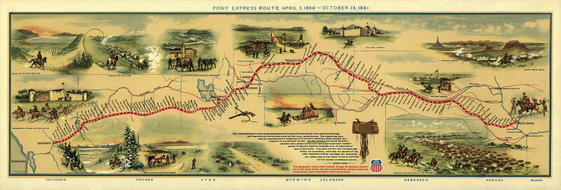The Pony Express' route.