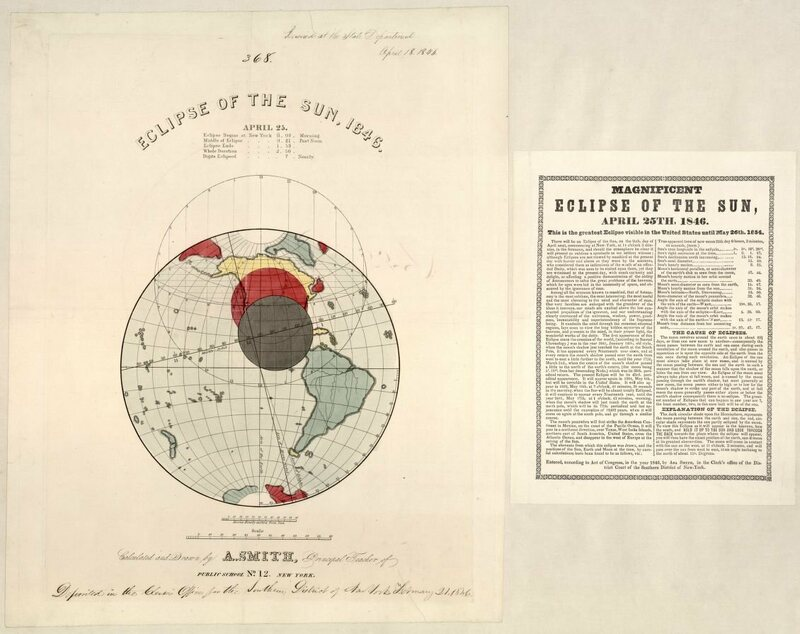 A map of the solar eclipse on April 25, 1846.
