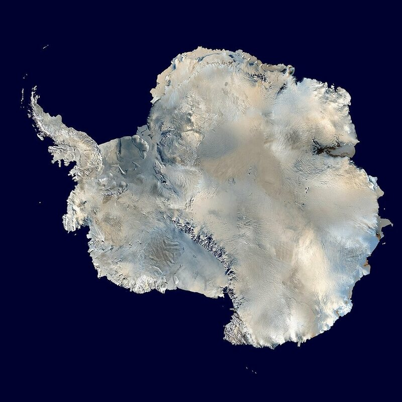 The newly described volcanoes are under the ice from the Ross Ice Shelf to the Antarctic Peninsula, on the left side of this composite satellite image.