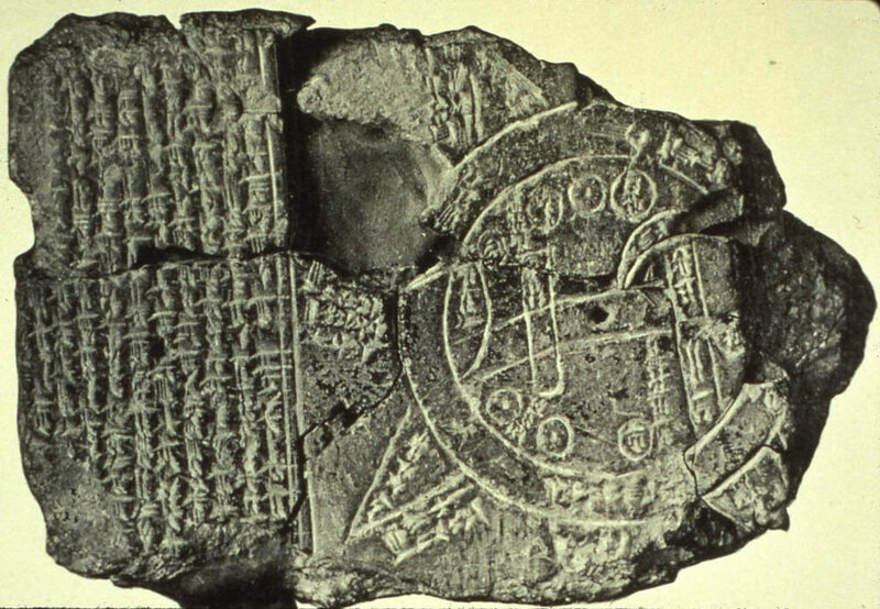 This Babylonian diagram, <em>Imago Mundi</em>, is thought to be one of the oldest maps of the world, dating to the sixth century B.C.