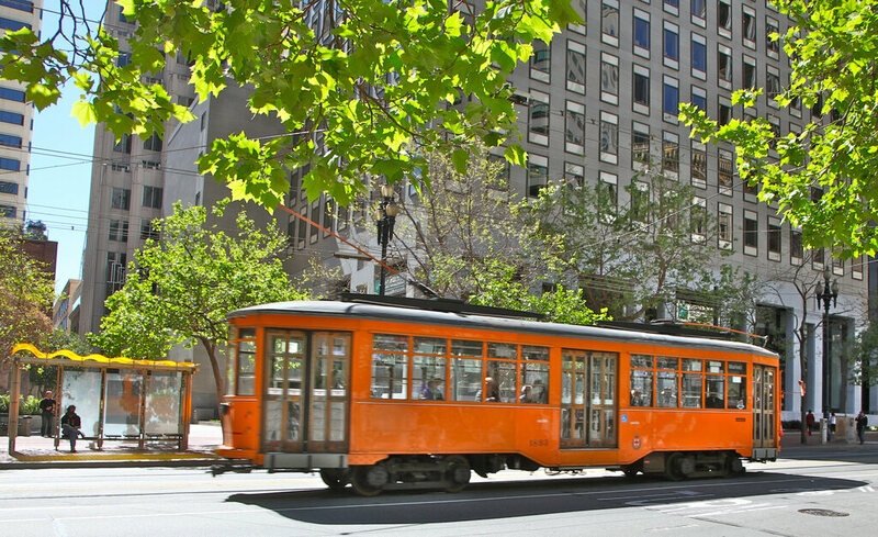 One of San Francisco's iconic street cars in action.