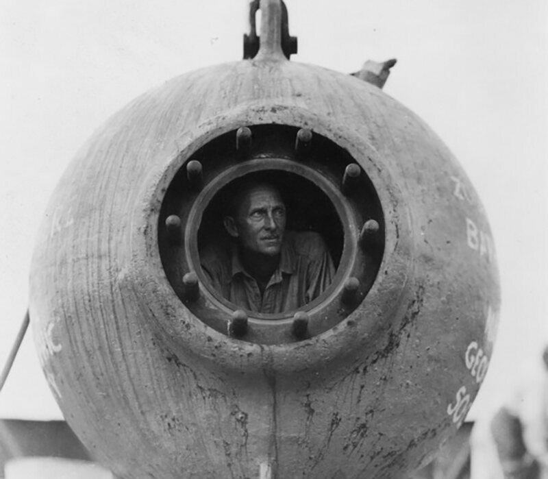 William Beebe in the bathysphere.