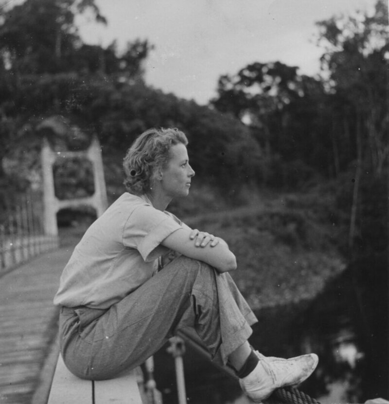Gloria Hollister on a suspension bridge at Garraway, British Guiana (now Guyana), 1936.