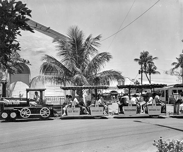 The Conch Tour Train in Key West, Florida, 1962.
