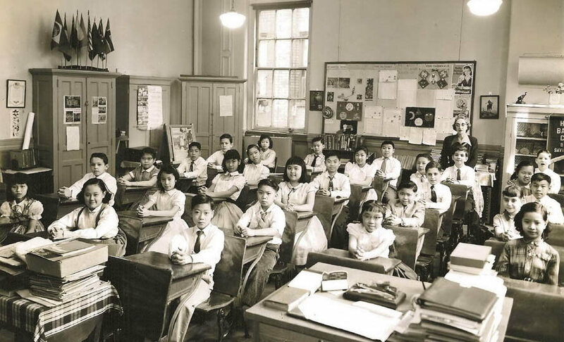 Sixth graders at P.S. 23 in Chinatown, c. 1956.