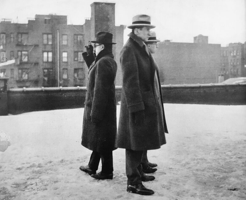 Observers on a New York City rooftop, recording whether they saw totality for the Consolidated Gas survey in 1925.