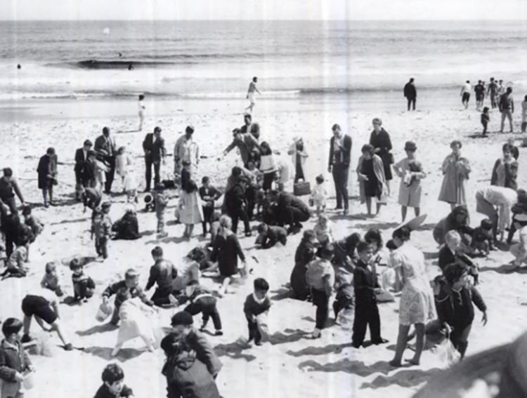Families on Bradley Beach.