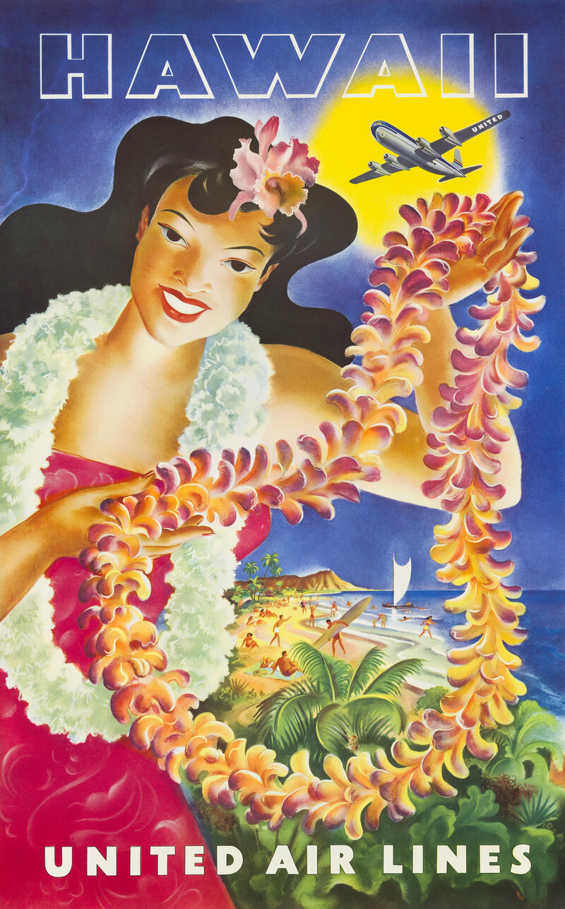 A 1949 United Airlines poster advertising its flights to Hawaii.