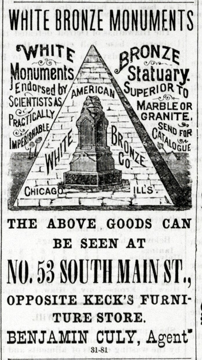 "An advertisement for ""White Bronze Monuments"" from an 1887 issue of the Ann Arbor Courier."