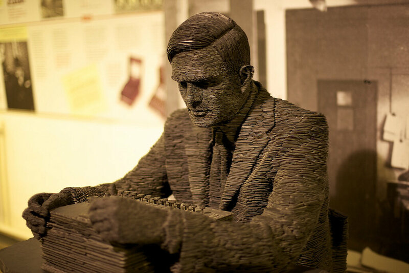 Alan Turing wasn't America's biggest fan (sculpture at the National Museum of Computing at  Bletchley Park).