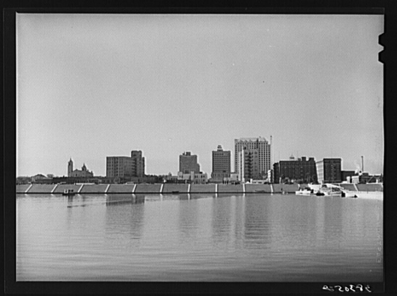 Corpus Christi, with the seawall under construction, in 1940