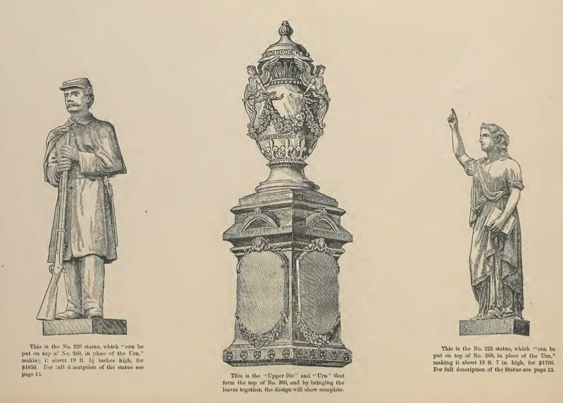 "A soldier, an urn, and ""Faith,"" all available from the 1882 Monumental Bronze Co. catalog."