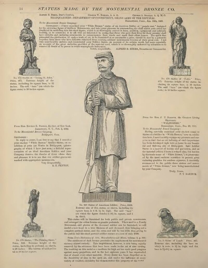 The soldier page of Monumental Bronze Co.'s 1882 catalog, completed with drawings and testimonials.