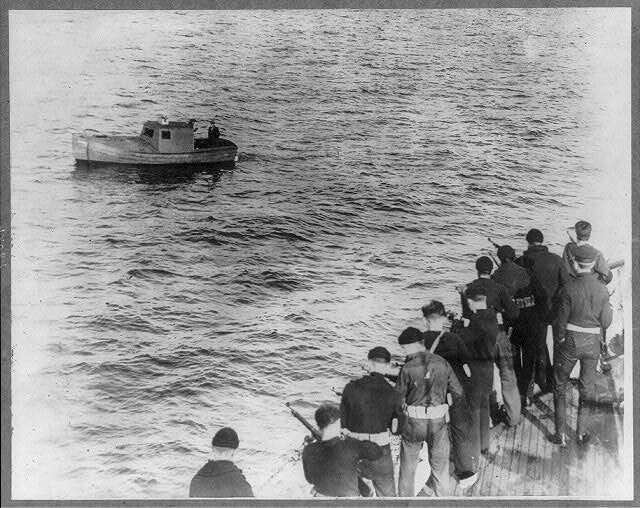 The Coast Guard closing in on a rumrunner in 1924.
