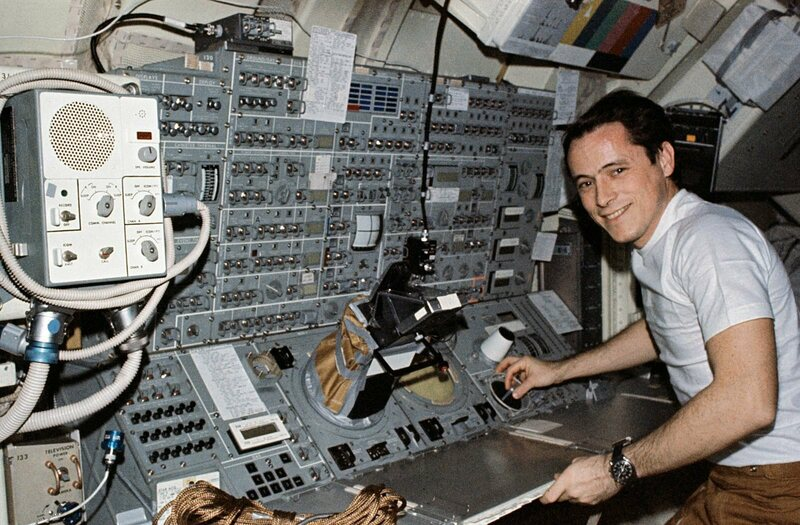 Gibson at the telescope controls.
