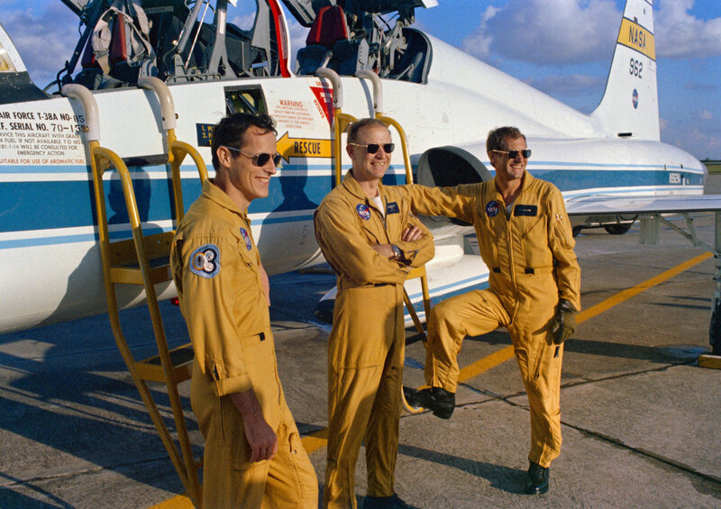 From left to right: Edward Gibson, Gerald Carr, and William Pogue prepare to fly to Cape Canaveral to take off for Skylab.