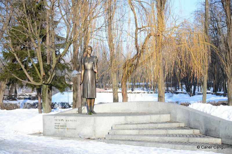 Memorial to Tatyana Markus, an anti-Nazi resistance fighter in Kyiv.