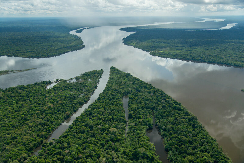The confluence of two rivers in the Amazon.
