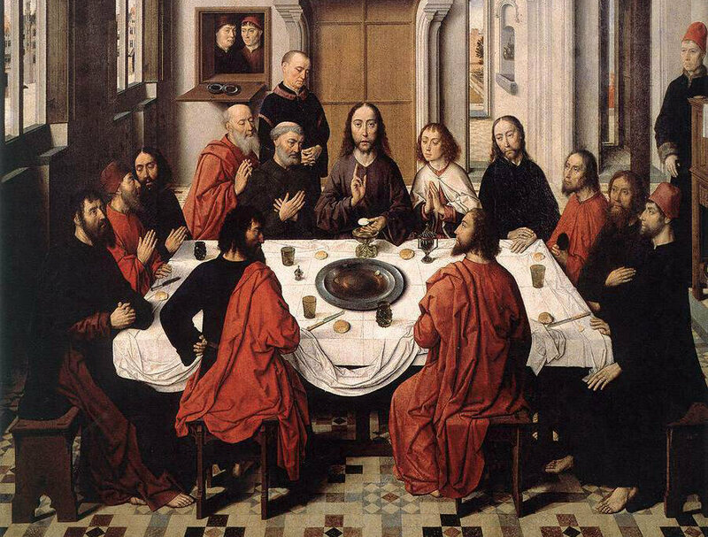 From Dieric Bouts' <em> Triptych of the Last Supper</em>, c. 1465. Note the use of the tablecloth as a giant communal napkin.