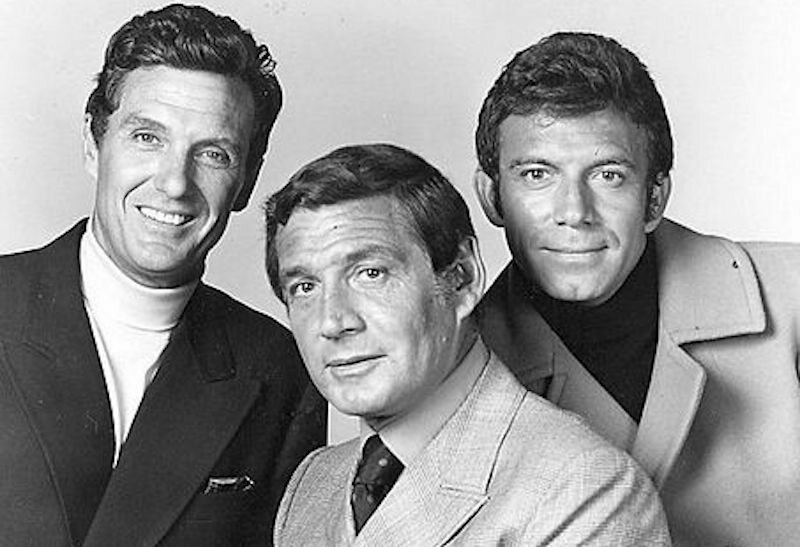 Robert Stack, Gene Barry, and Tony Franciosa, the lead actors in <em>The Name of the Game</em>.