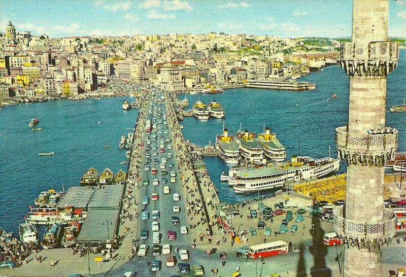 A postcard showing the Galata Bridge, Istanbul, 1985. Lubunca first started to be recorded by linguists and sociologists in the 1980s.