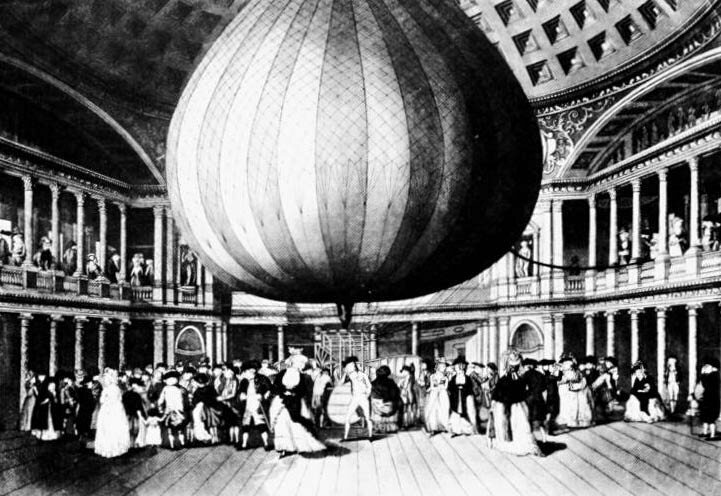 A drawing of Lunardi's balloon, on display after his 1784 flight.