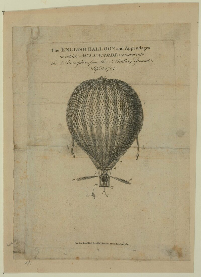 A print of the balloon Lunardi used on September 15th, 1784.