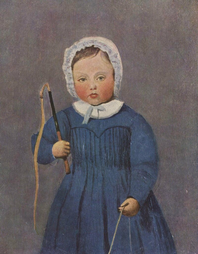 Portraits of little boys, like this 1843 Jean-Baptiste Camille Corot painting, often used masculine props such as whips or swords to communicate the gender of their subjects.