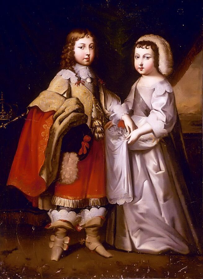 This 17th-century portrait of the French king Louis XIV and his brother, the Duke D'Orleans, shows the difference in clothing for boys who had and had not been breeched.