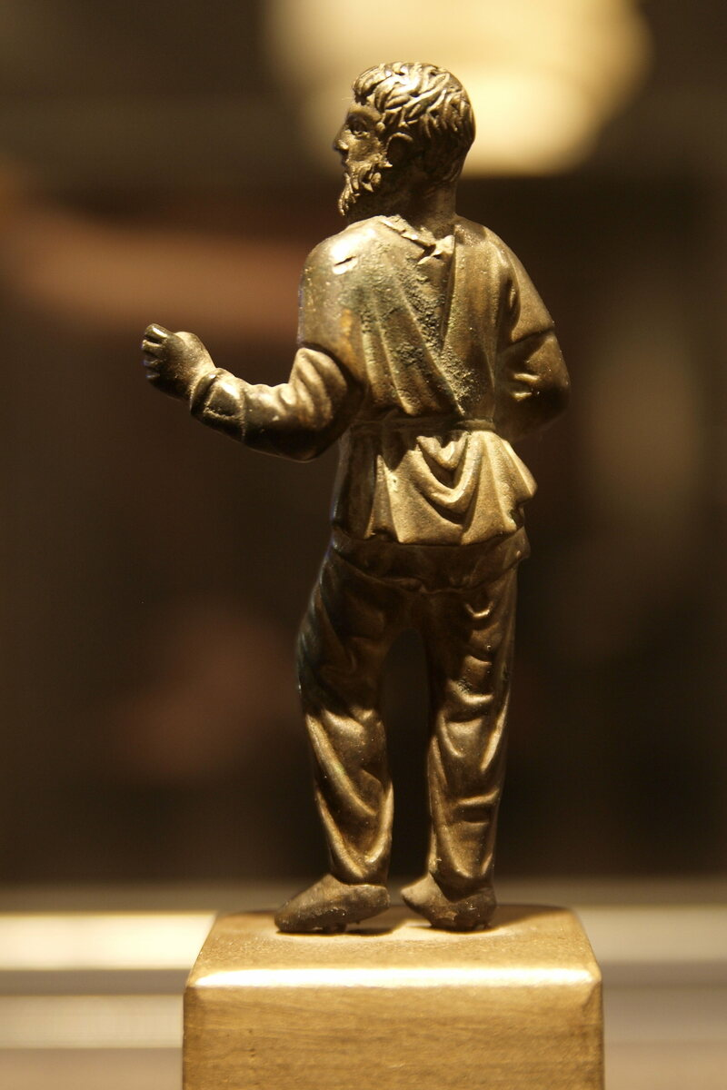 A bronze statute of a German, wearing pants, from the 2nd century.