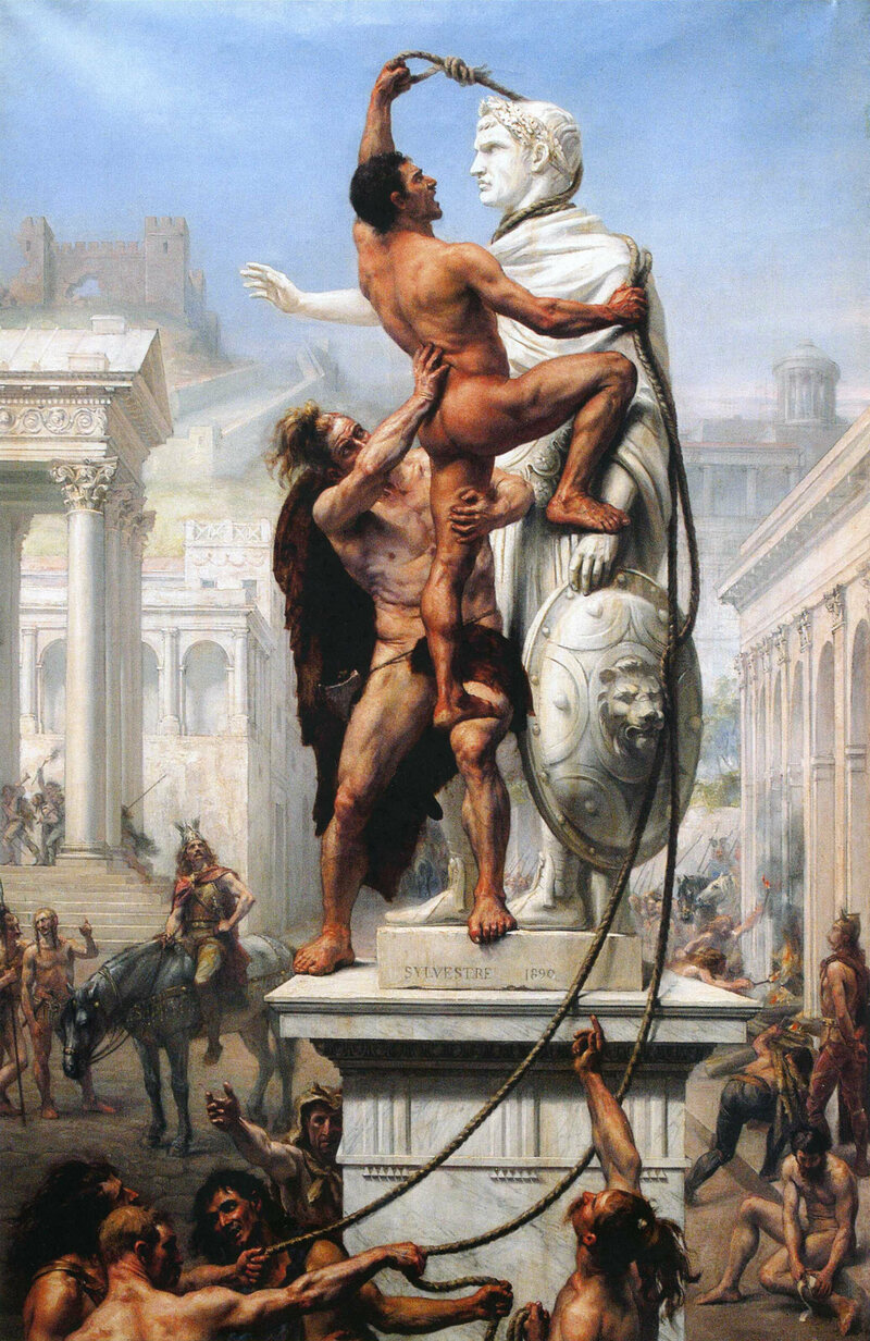 A 1890 painting by French artist Joseph-Noël Sylvestre depicts the sack of Rome by the Visigoths.