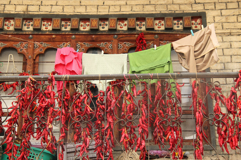 Chillies hanging out to dry in Bhutan.