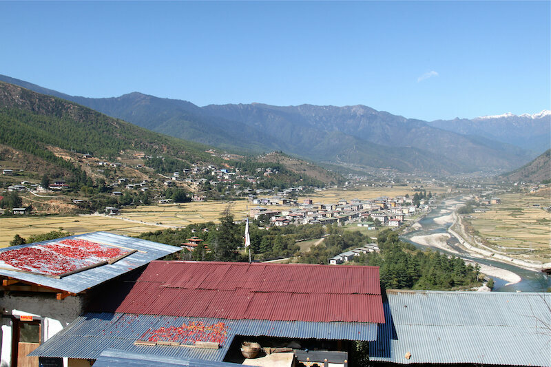 Chillies on rooftops in Bhutan.