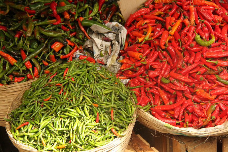 Different types of chillies in Bhutan.