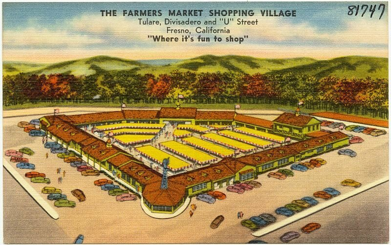 A vintage postcard of Fresno Farmer's Market Shopping Village. The jeans were traced to a contaminated shipment.