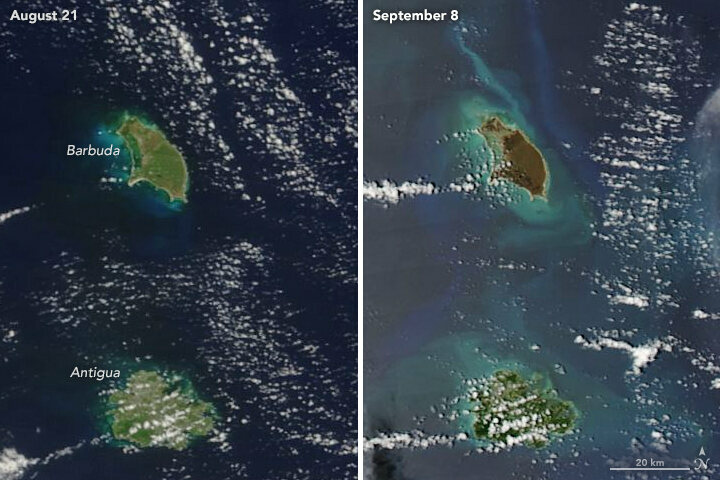 Barbuda, the upper island, was turned a dark brown by Hurricane Irma. Antigua, below, was spared by the center of the storm.