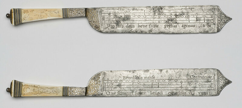 A composite image showing both sides of the 16th-century knives.