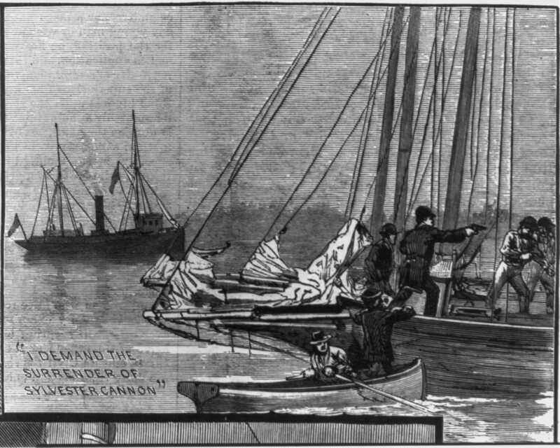 Oyster Police demanding the surrender of a boat of oyster pirates.