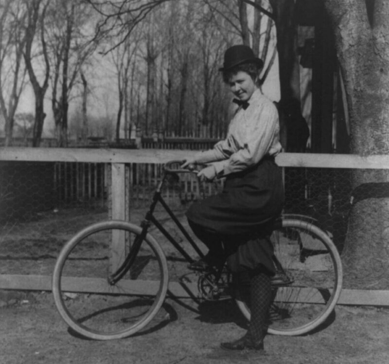 A woman with a bicycle, 1897.