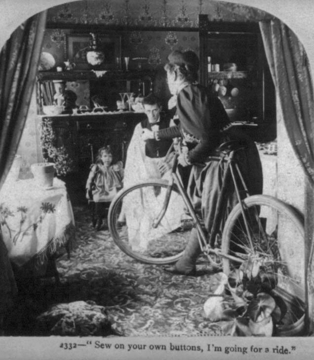 "A stereograph, c. 1899, with the caption """"Sew on your own buttons, I'm going for a ride!"""