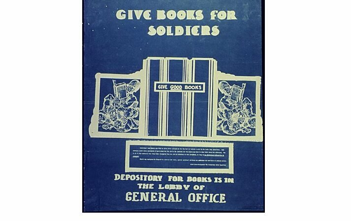 "This flyer from 1942 urges civilians to ""GIVE GOOD BOOKS."""