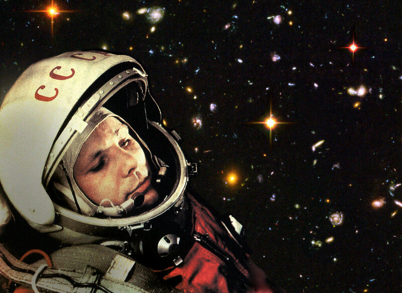 A composite image showing Yuri Gagarin, the first man in space, against a Hubble telescope capture. Gagarin flew on a Vostok spacecraft, of which Sputnik IV was the first.