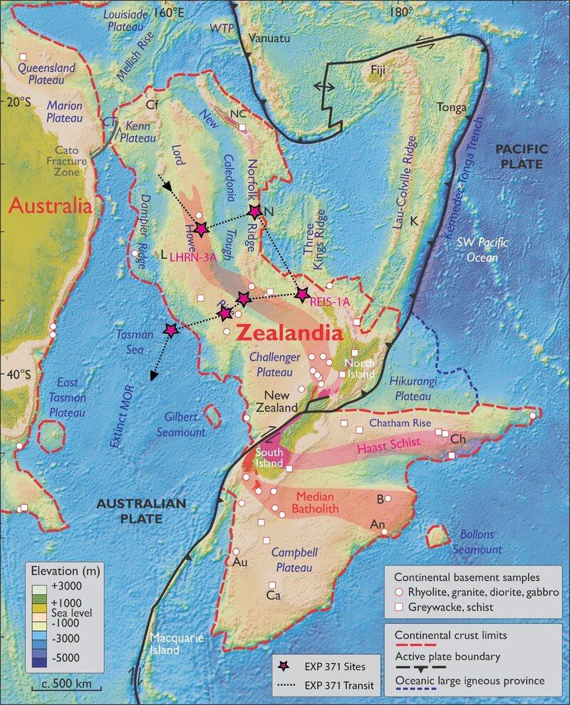 A map of Zealandia.