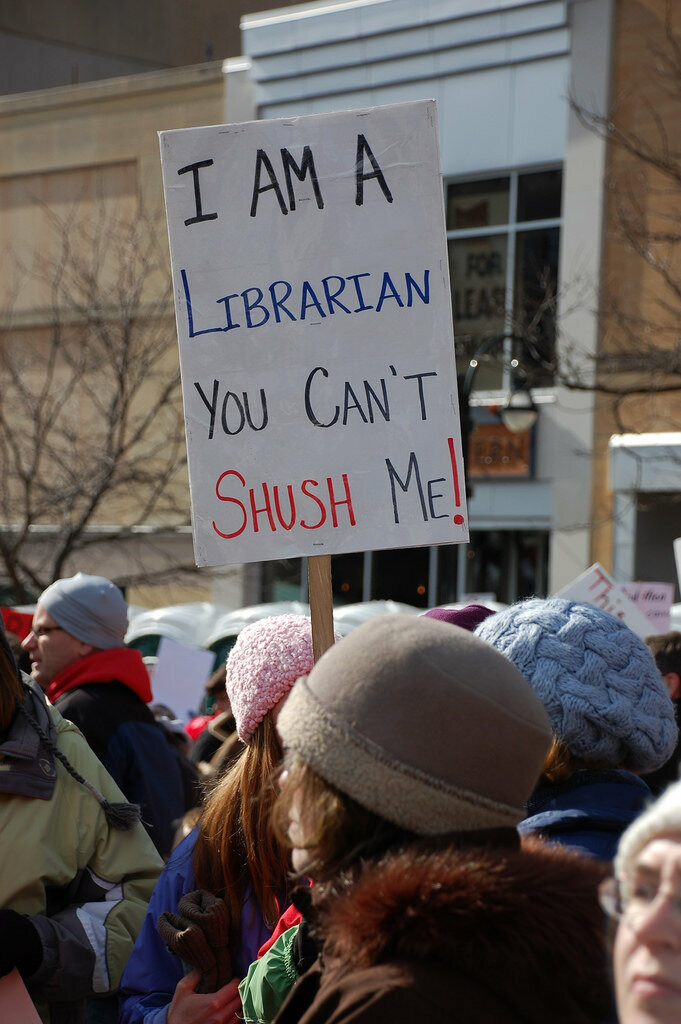 Librarians at a protest in Madison, Wisconsin, 2011.