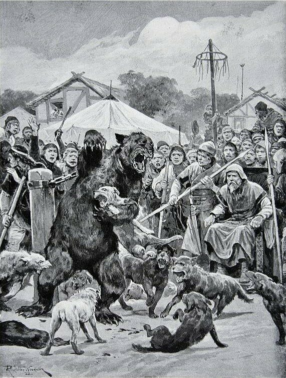 A depiction of bear-baiting in the Saxon era.