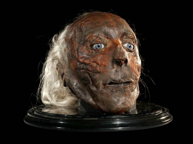 Jeremy Bentham's head is usually not on display, to prevent further deterioration.