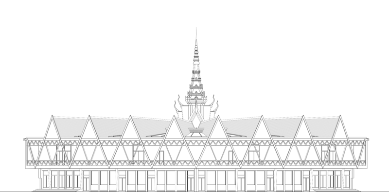 A sketch of Chaktomuk Conference Hall. All materials documenting Molyvann's work were destroyed during the Khmer Rouge regime.