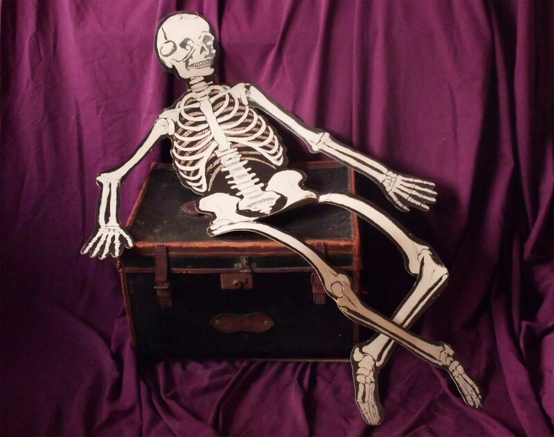 A skeleton, found inside the box.
