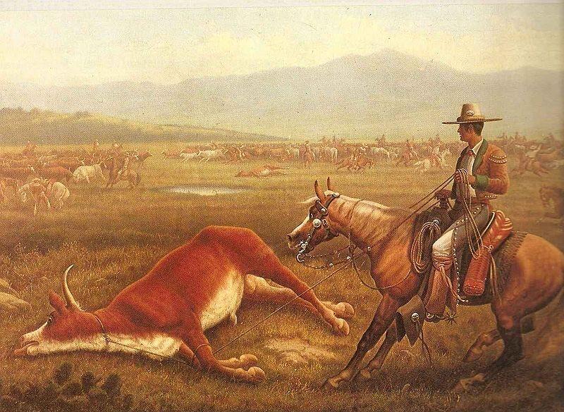 A <em>Vaquero</em> roping cattle, California, c. 1830s.