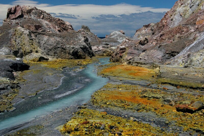 Whakaari/White Island, off the northern coast of New Zealand, is rich with color.